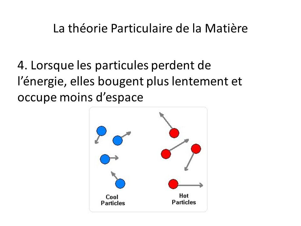 La théorie Particulaire de la Matière 4. Lorsque les particules perdent de lénergie, elles bougent plus lentement et occupe moins despace