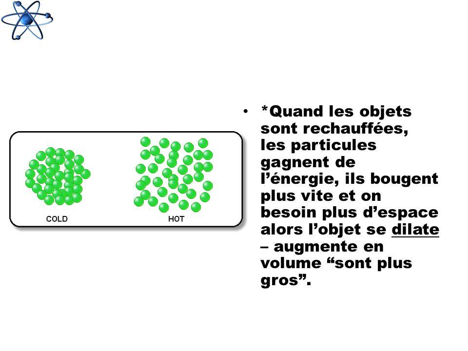 *Quand les objets sont rechauffées, les particules gagnent de lénergie, ils bougent plus vite et on besoin plus despace alors lobjet se dilate – augmente en volume sont plus gros.