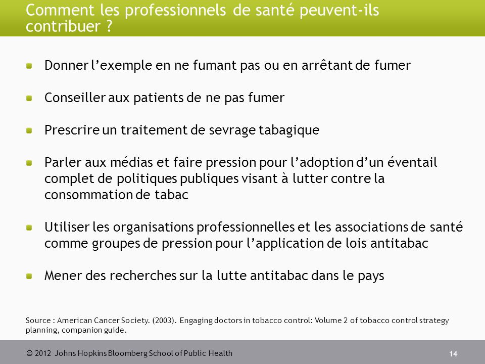 2012 Johns Hopkins Bloomberg School of Public Health Comment les professionnels de santé peuvent-ils contribuer .