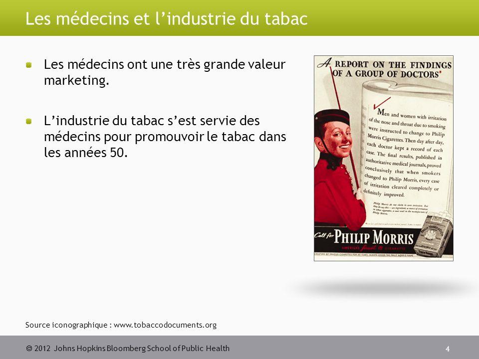 2012 Johns Hopkins Bloomberg School of Public Health Les médecins et lindustrie du tabac Les médecins ont une très grande valeur marketing.