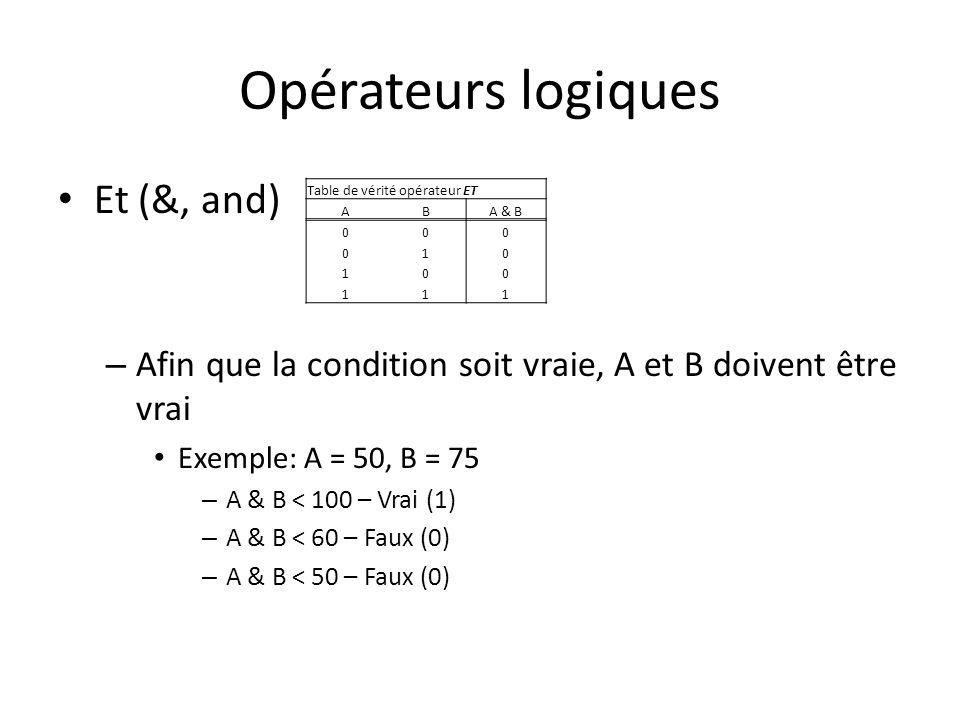 Opérateurs logiques Et (&, and) – Afin que la condition soit vraie, A et B doivent être vrai Exemple: A = 50, B = 75 – A & B < 100 – Vrai (1) – A & B < 60 – Faux (0) – A & B < 50 – Faux (0) Table de vérité opérateur ET ABA & B 000 010 100 111