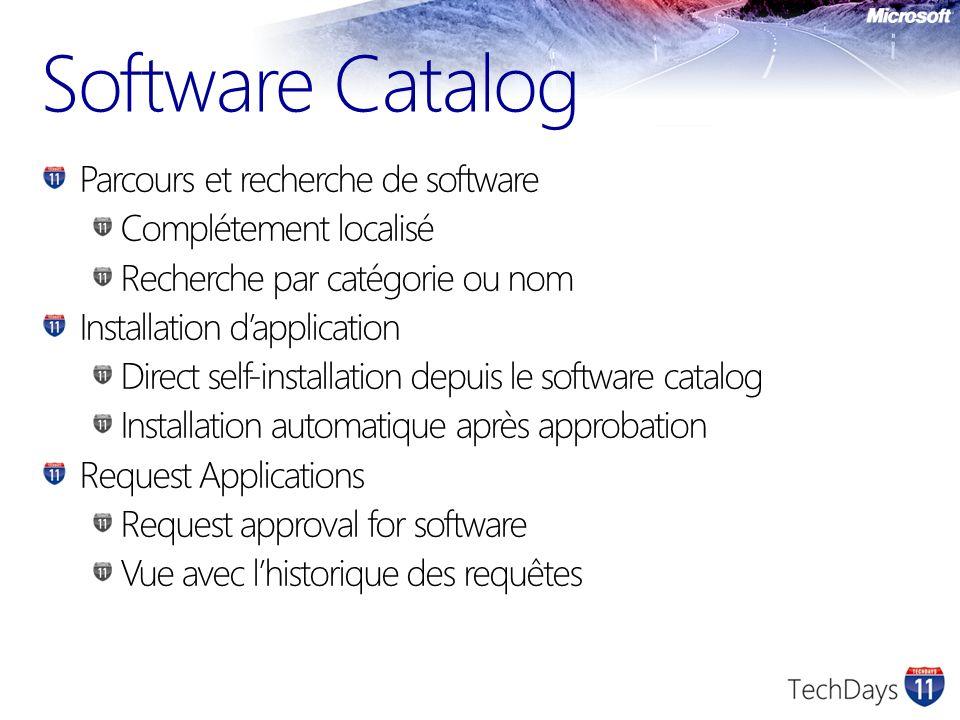 Software Catalog Parcours et recherche de software Complétement localisé Recherche par catégorie ou nom Installation dapplication Direct self-installa