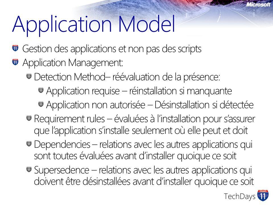 Application Model Gestion des applications et non pas des scripts Application Management: Detection Method– réévaluation de la présence: Application r