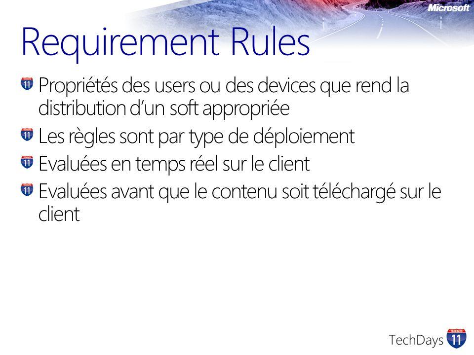 Requirement Rules Propriétés des users ou des devices que rend la distribution dun soft appropriée Les règles sont par type de déploiement Evaluées en