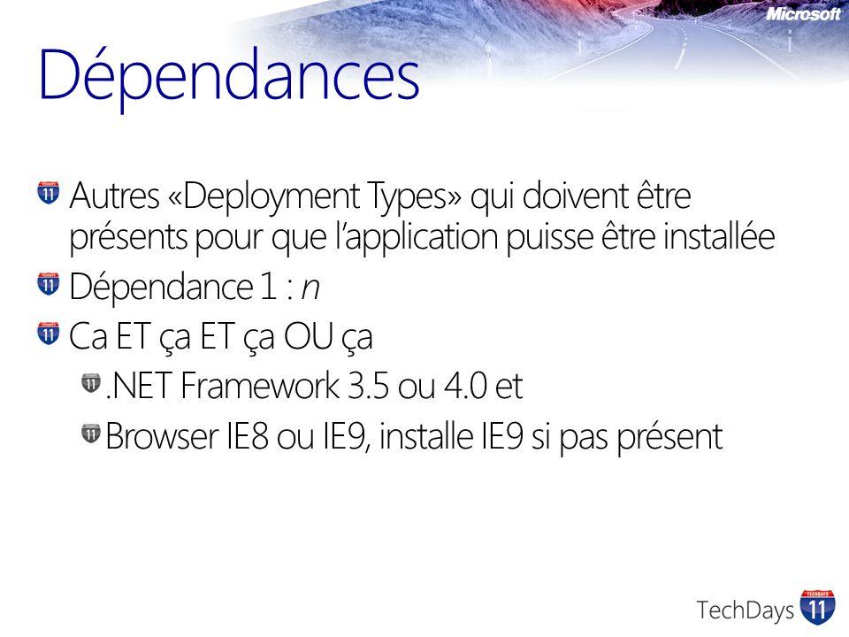 Dépendances Autres «Deployment Types» qui doivent être présents pour que lapplication puisse être installée Dépendance 1 : n Ca ET ça ET ça OU ça.NET
