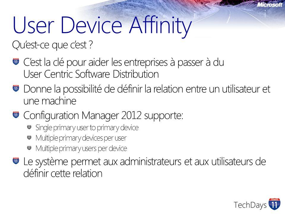 User Device Affinity Quest-ce que cest ? Cest la clé pour aider les entreprises à passer à du User Centric Software Distribution Donne la possibilité