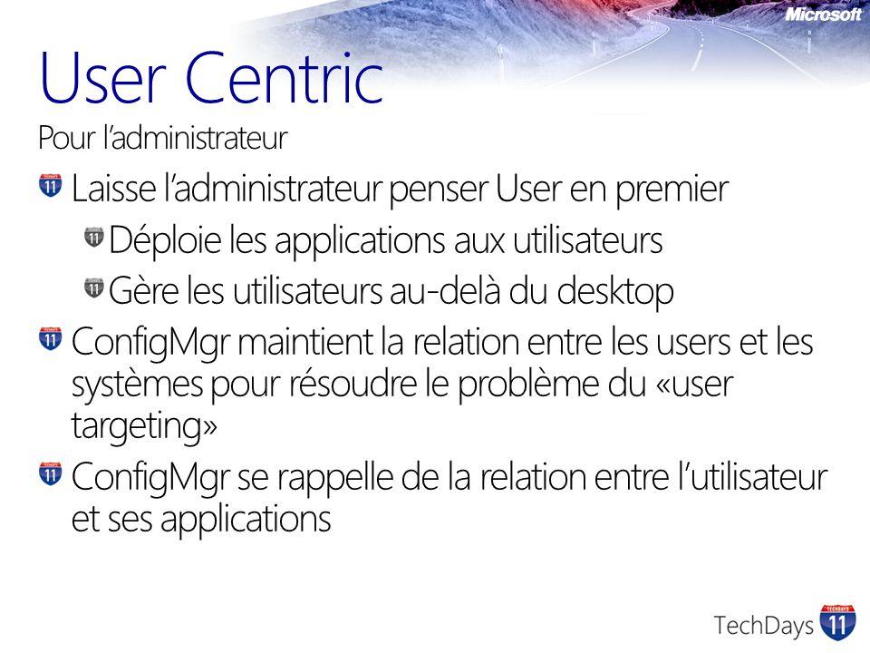 User Centric Pour ladministrateur Laisse ladministrateur penser User en premier Déploie les applications aux utilisateurs Gère les utilisateurs au-del
