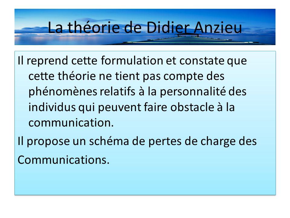 La théorie de Didier Anzieu Il reprend cette formulation et constate que cette théorie ne tient pas compte des phénomènes relatifs à la personnalité des individus qui peuvent faire obstacle à la communication.