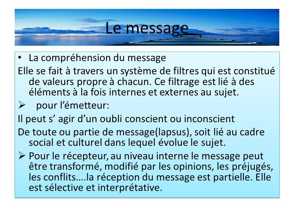 Le message La compréhension du message Elle se fait à travers un système de filtres qui est constitué de valeurs propre à chacun.