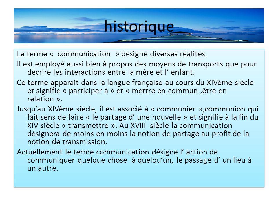 historique Le terme « communication » désigne diverses réalités.