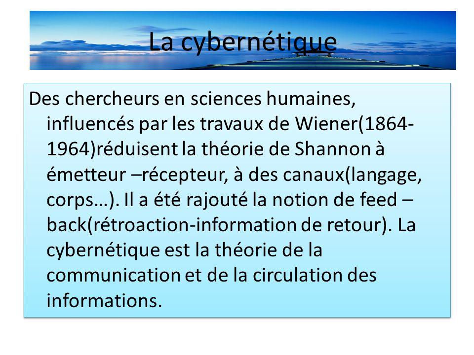 La cybernétique message canal feed-back Schéma linéaire de Shannon complété par Wierner message canal feed-back Schéma linéaire de Shannon complété par Wierner Emetteur récepteur