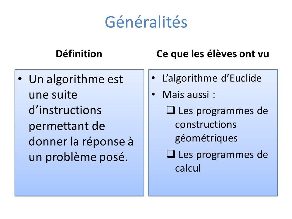 Généralités Définition Un algorithme est une suite dinstructions permettant de donner la réponse à un problème posé.