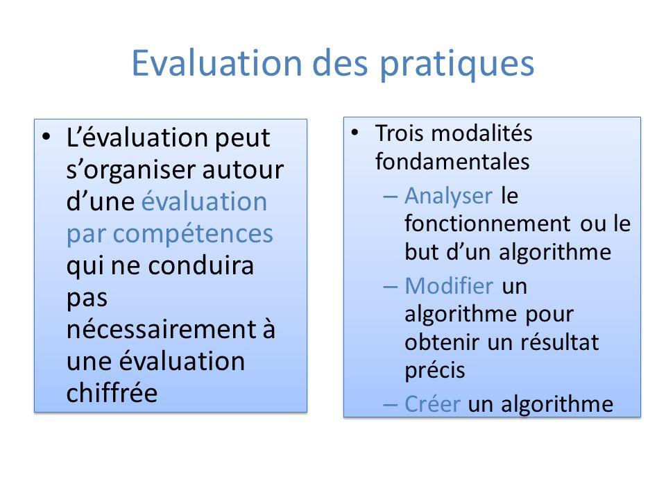 Evaluation des pratiques Lévaluation peut sorganiser autour dune évaluation par compétences qui ne conduira pas nécessairement à une évaluation chiffrée Trois modalités fondamentales – Analyser le fonctionnement ou le but dun algorithme – Modifier un algorithme pour obtenir un résultat précis – Créer un algorithme Trois modalités fondamentales – Analyser le fonctionnement ou le but dun algorithme – Modifier un algorithme pour obtenir un résultat précis – Créer un algorithme