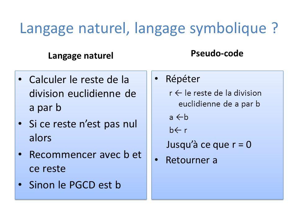 Langage naturel, langage symbolique .