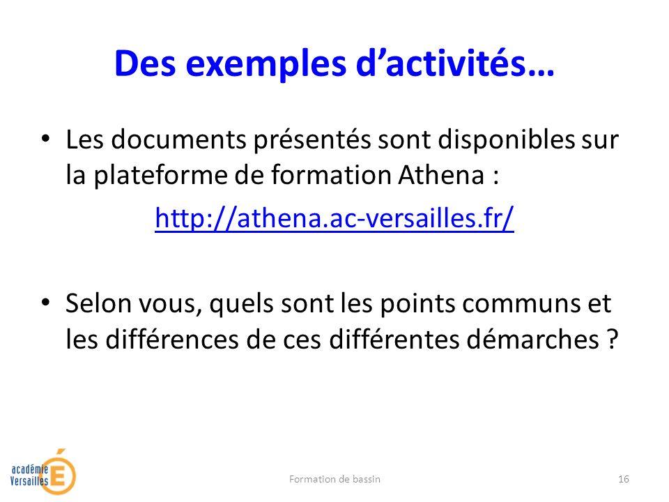 Des exemples dactivités… Les documents présentés sont disponibles sur la plateforme de formation Athena : http://athena.ac-versailles.fr/ Selon vous,