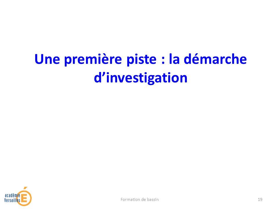 Une première piste : la démarche dinvestigation Formation de bassin19