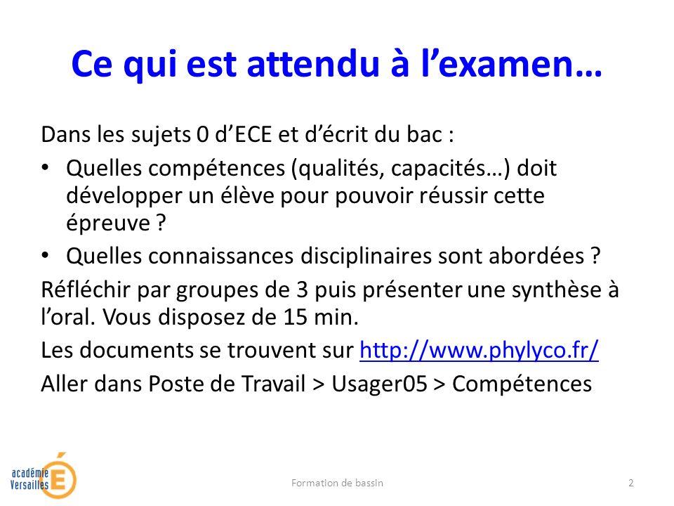 Ce qui est attendu à lexamen… Dans les sujets 0 dECE et décrit du bac : Quelles compétences (qualités, capacités…) doit développer un élève pour pouvo