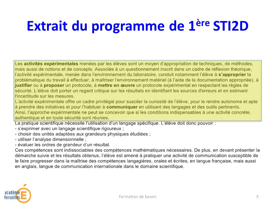 Extrait du programme de 1 ère STI2D Formation de bassin5