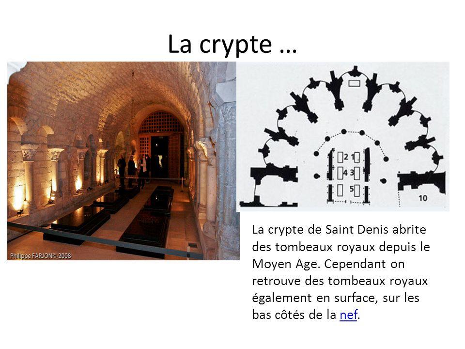 La crypte … La crypte de Saint Denis abrite des tombeaux royaux depuis le Moyen Age. Cependant on retrouve des tombeaux royaux également en surface, s