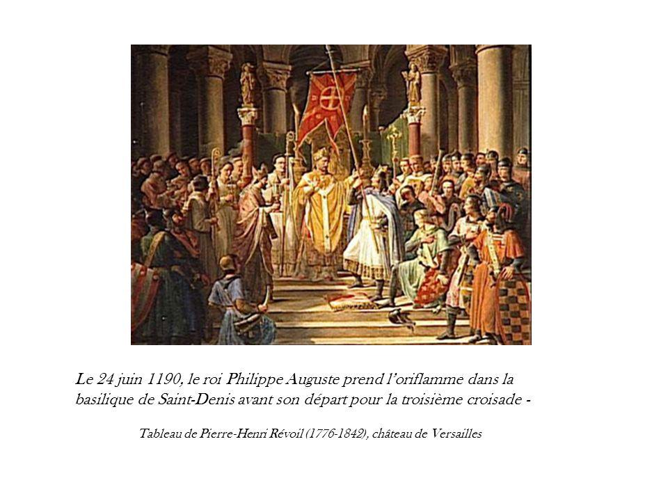 Le 24 juin 1190, le roi Philippe Auguste prend loriflamme dans la basilique de Saint-Denis avant son départ pour la troisième croisade - Tableau de Pi