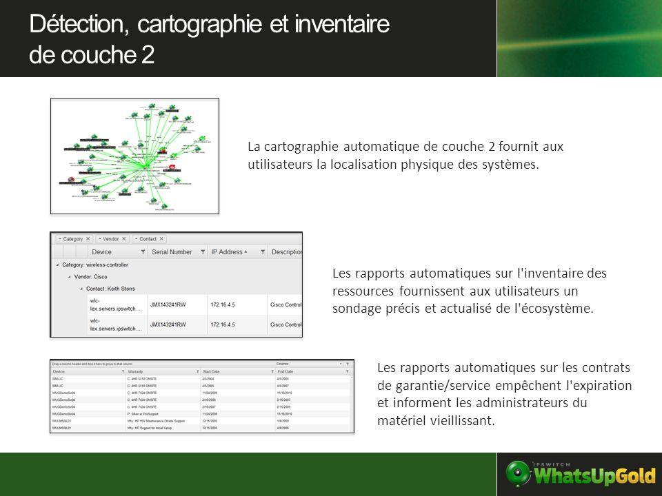 La cartographie automatique de couche 2 fournit aux utilisateurs la localisation physique des systèmes. Les rapports automatiques sur l'inventaire des