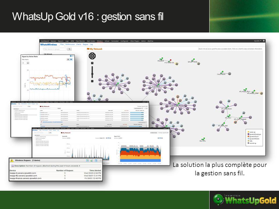 La solution la plus complète pour la gestion sans fil. WhatsUp Gold v16 : gestion sans fil