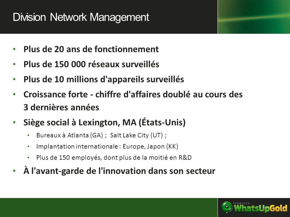 Plus de 20 ans de fonctionnement Plus de 150 000 réseaux surveillés Plus de 10 millions d'appareils surveillés Croissance forte - chiffre d'affaires d