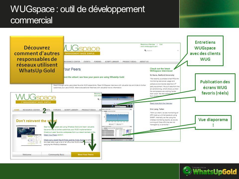 Entretiens WUGspace avec des clients WUG Publication des écrans WUG favoris (réels) Vue diaporama ! 1 2 WUGspace : outil de développement commercial D