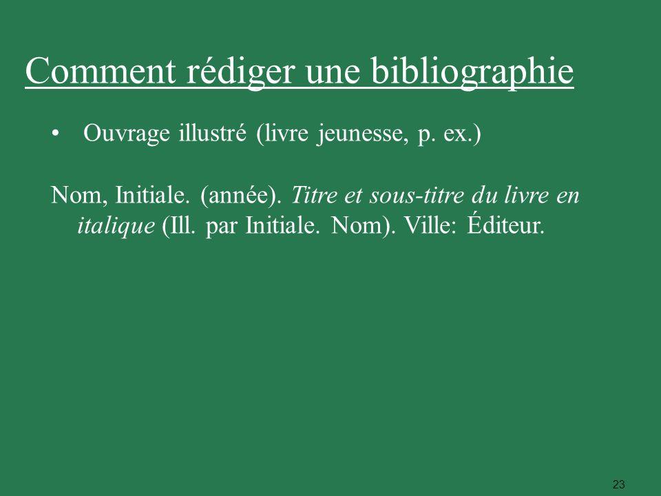 23 Ouvrage illustré (livre jeunesse, p. ex.) Nom, Initiale. (année). Titre et sous-titre du livre en italique (Ill. par Initiale. Nom). Ville: Éditeur