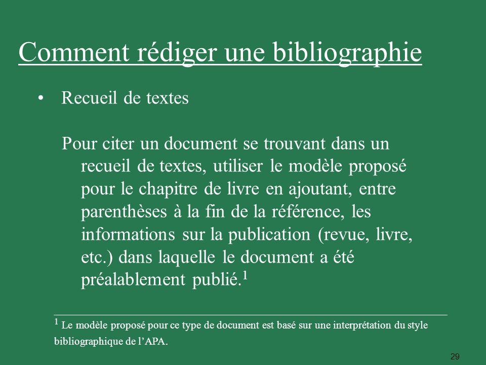 29 Recueil de textes Pour citer un document se trouvant dans un recueil de textes, utiliser le modèle proposé pour le chapitre de livre en ajoutant, e
