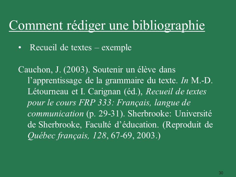 30 Recueil de textes – exemple Cauchon, J. (2003). Soutenir un élève dans lapprentissage de la grammaire du texte. In M.-D. Létourneau et I. Carignan