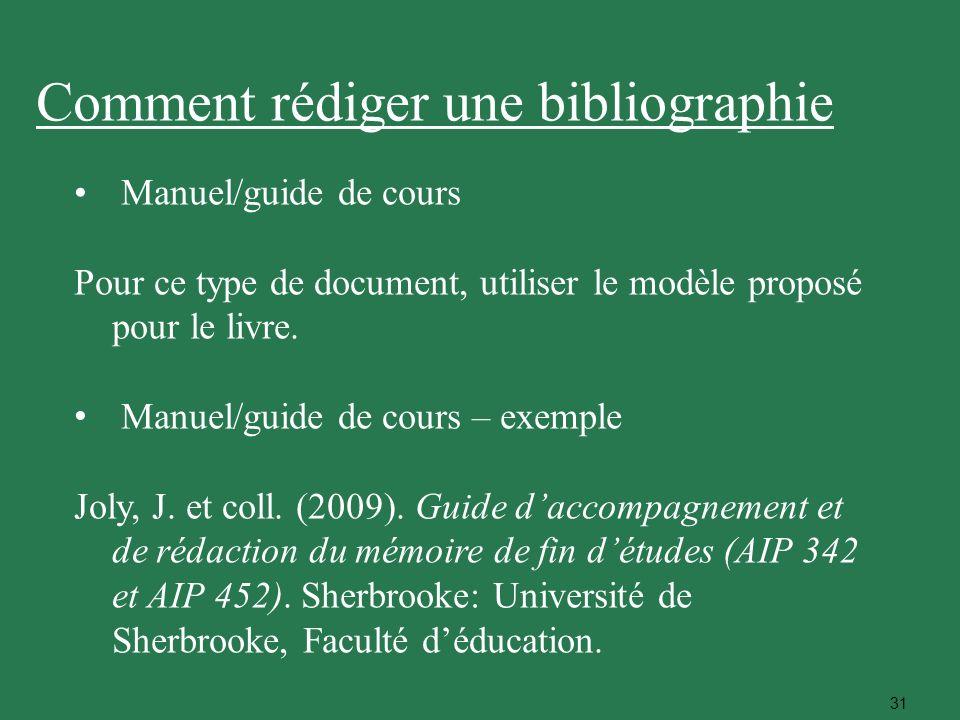 31 Manuel/guide de cours Pour ce type de document, utiliser le modèle proposé pour le livre. Manuel/guide de cours – exemple Joly, J. et coll. (2009).