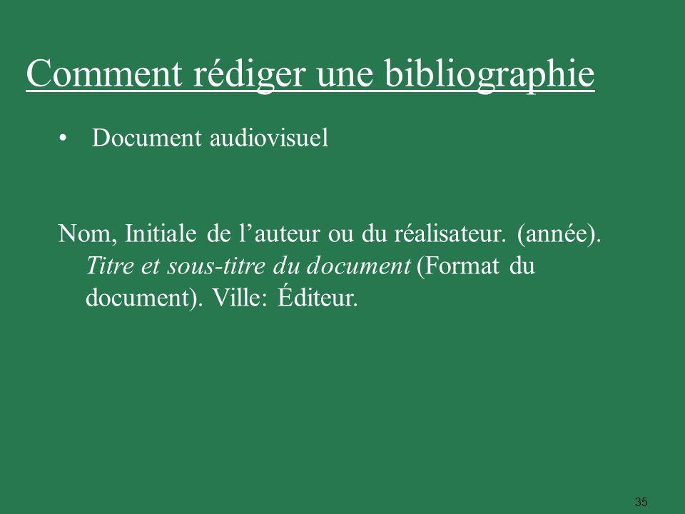 35 Comment rédiger une bibliographie Document audiovisuel Nom, Initiale de lauteur ou du réalisateur. (année). Titre et sous-titre du document (Format
