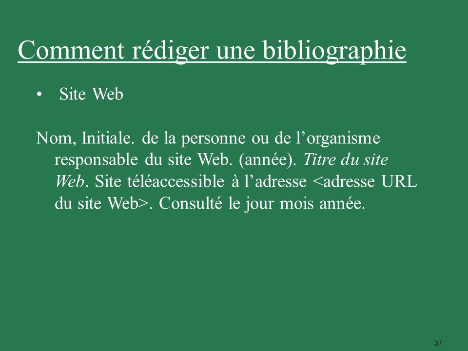 37 Site Web Nom, Initiale. de la personne ou de lorganisme responsable du site Web. (année). Titre du site Web. Site téléaccessible à ladresse. Consul