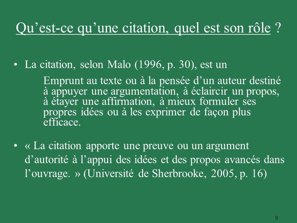 9 La citation, selon Malo (1996, p. 30), est un Emprunt au texte ou à la pensée dun auteur destiné à appuyer une argumentation, à éclaircir un propos,