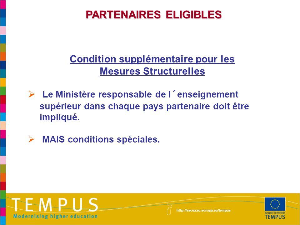 PARTENAIRES ELIGIBLES Condition supplémentaire pour les Mesures Structurelles Le Ministère responsable de l´enseignement supérieur dans chaque pays partenaire doit être impliqué.