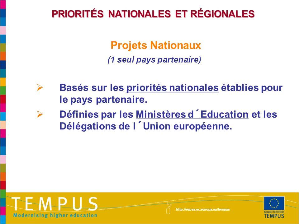 PRIORITÉS NATIONALES ET RÉGIONALES Projets Nationaux (1 seul pays partenaire) Basés sur les priorités nationales établies pour le pays partenaire.