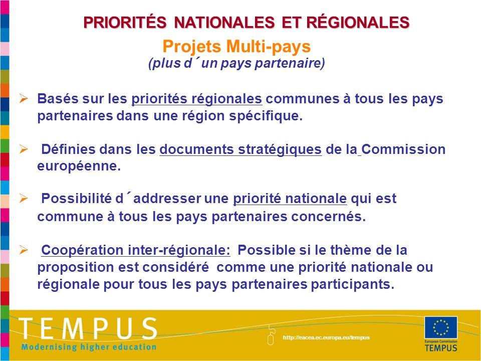 PRIORITÉS NATIONALES ET RÉGIONALES Projets Multi-pays (plus d´un pays partenaire) Basés sur les priorités régionales communes à tous les pays partenaires dans une région spécifique.
