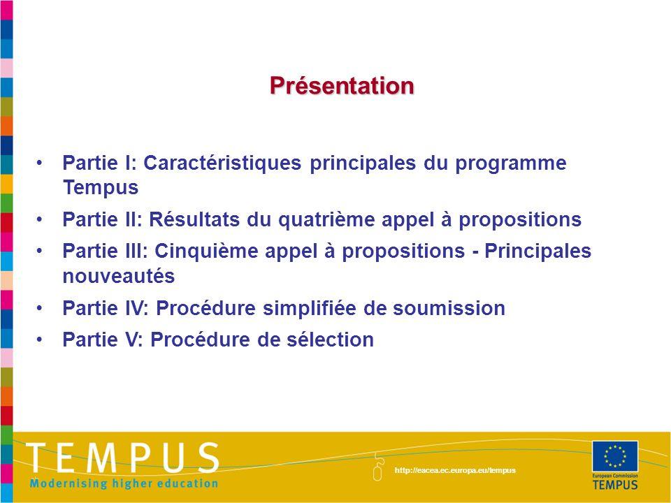 Présentation Présentation Partie I: Caractéristiques principales du programme Tempus Partie II: Résultats du quatrième appel à propositions Partie III: Cinquième appel à propositions - Principales nouveautés Partie IV: Procédure simplifiée de soumission Partie V: Procédure de sélection http://eacea.ec.europa.eu/tempus