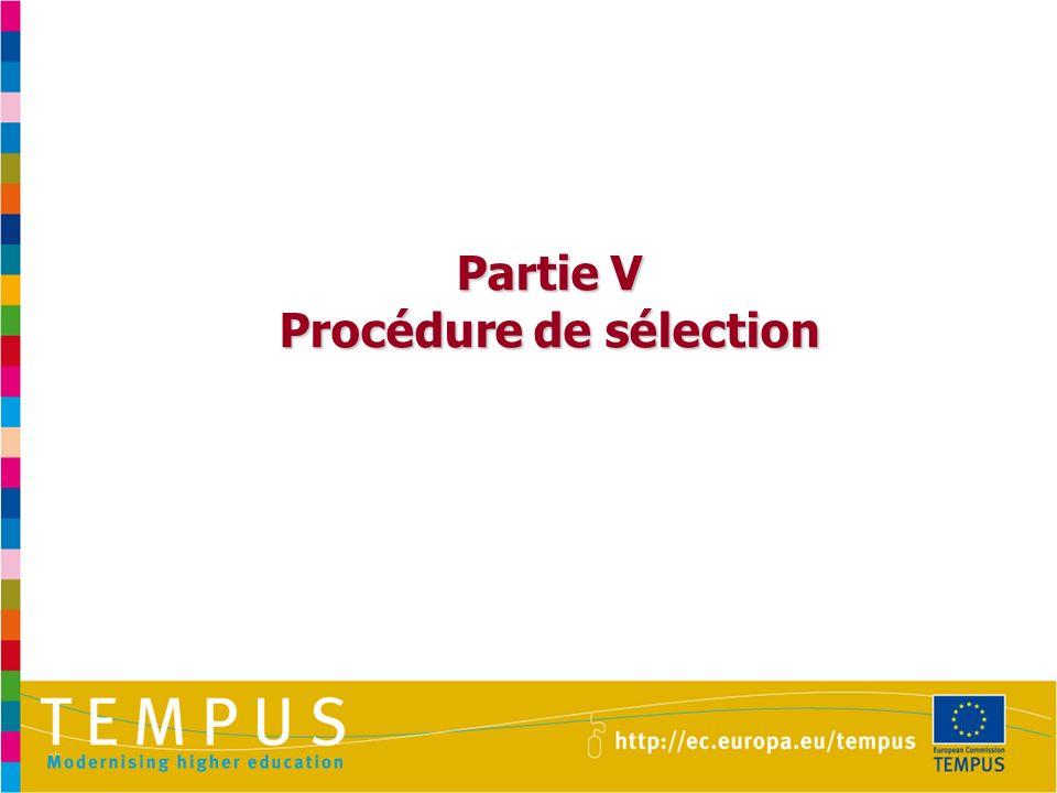 Partie V Procédure de sélection