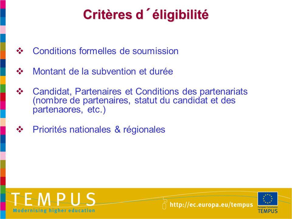 Critères d´éligibilité Conditions formelles de soumission Montant de la subvention et durée Candidat, Partenaires et Conditions des partenariats (nombre de partenaires, statut du candidat et des partenaores, etc.) Priorités nationales & régionales