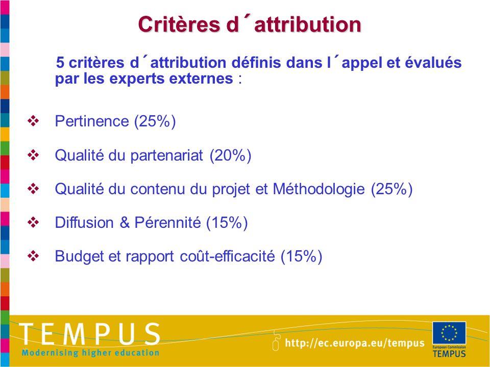 Critères d´attribution 5 critères d´attribution définis dans l´appel et évalués par les experts externes : Pertinence (25%) Qualité du partenariat (20%) Qualité du contenu du projet et Méthodologie (25%) Diffusion & Pérennité (15%) Budget et rapport coût-efficacité (15%)