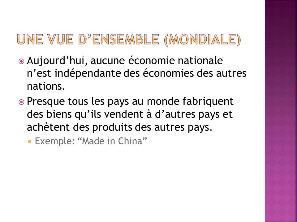 Aujourdhui, aucune économie nationale nest indépendante des économies des autres nations.