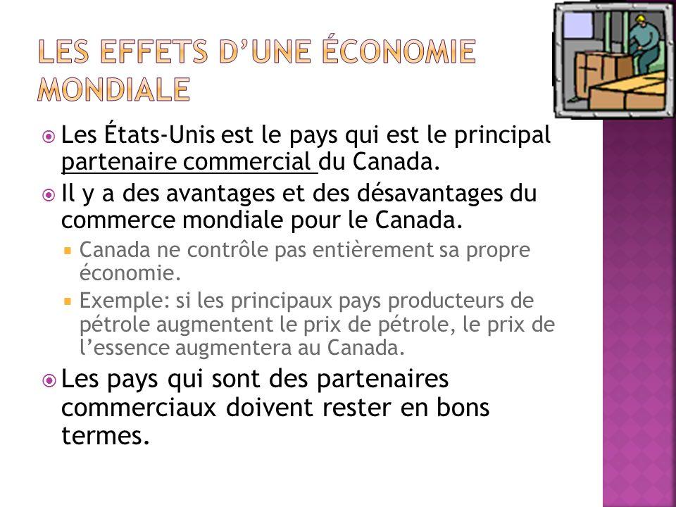 Les États-Unis est le pays qui est le principal partenaire commercial du Canada.