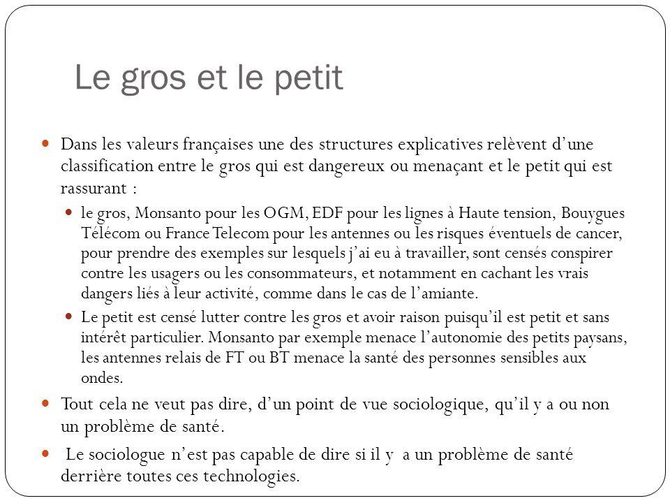Le gros et le petit Dans les valeurs françaises une des structures explicatives relèvent dune classification entre le gros qui est dangereux ou menaça