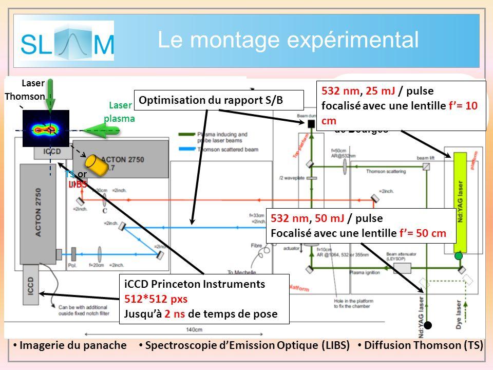 Imagerie du panache Spectroscopie dEmission Optique (LIBS) Diffusion Thomson (TS) 532 nm, 50 mJ / pulse Focalisé avec une lentille f= 50 cm iCCD Princ