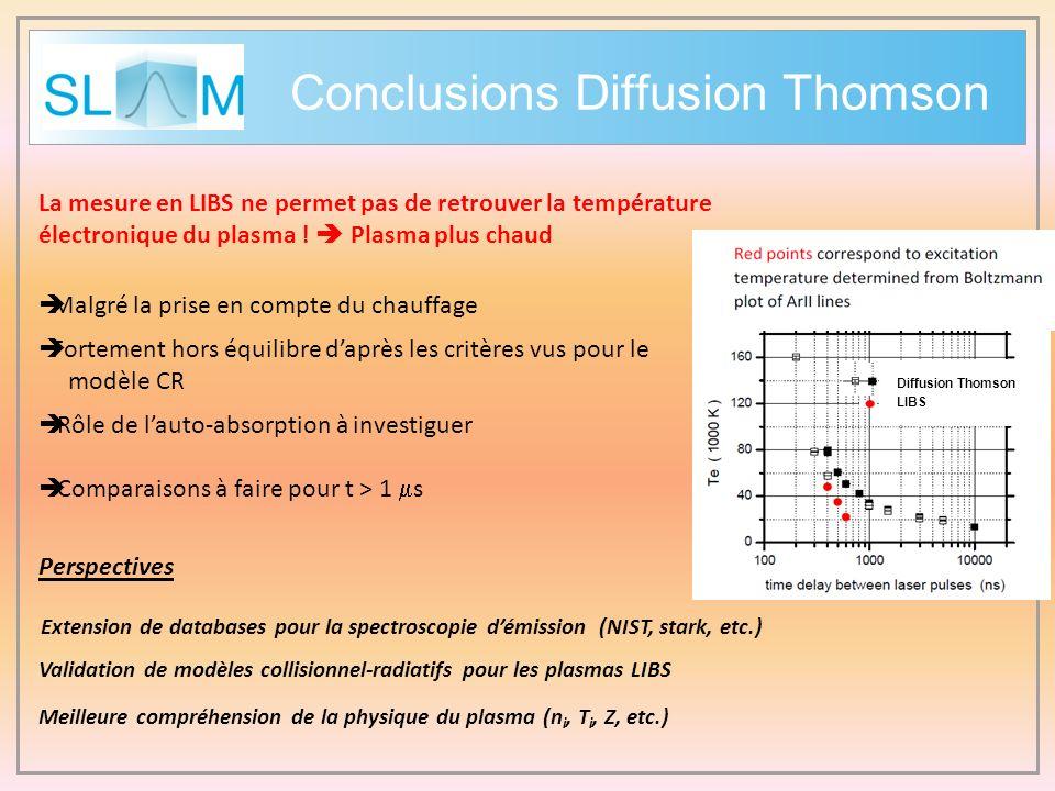 Conclusions Diffusion Thomson La mesure en LIBS ne permet pas de retrouver la température électronique du plasma ! Plasma plus chaud Malgré la prise e