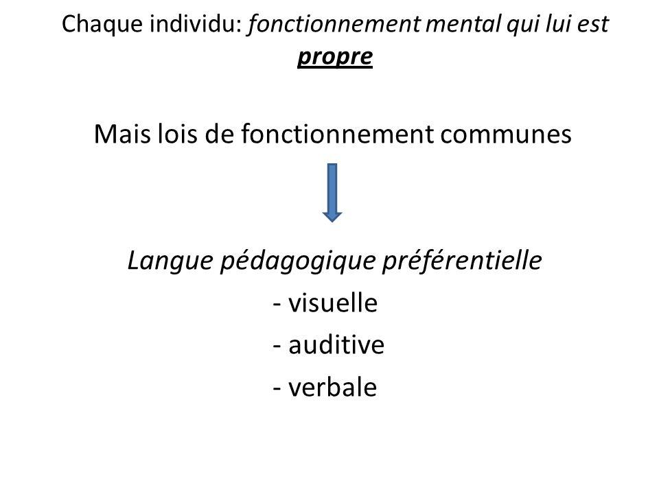 Chaque individu: fonctionnement mental qui lui est propre Mais lois de fonctionnement communes Langue pédagogique préférentielle - visuelle - auditive - verbale