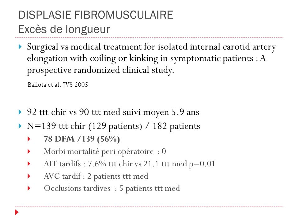 DISPLASIE FIBROMUSCULAIRE Excès de longueur Surgical vs medical treatment for isolated internal carotid artery elongation with coiling or kinking in symptomatic patients : A prospective randomized clinical study.