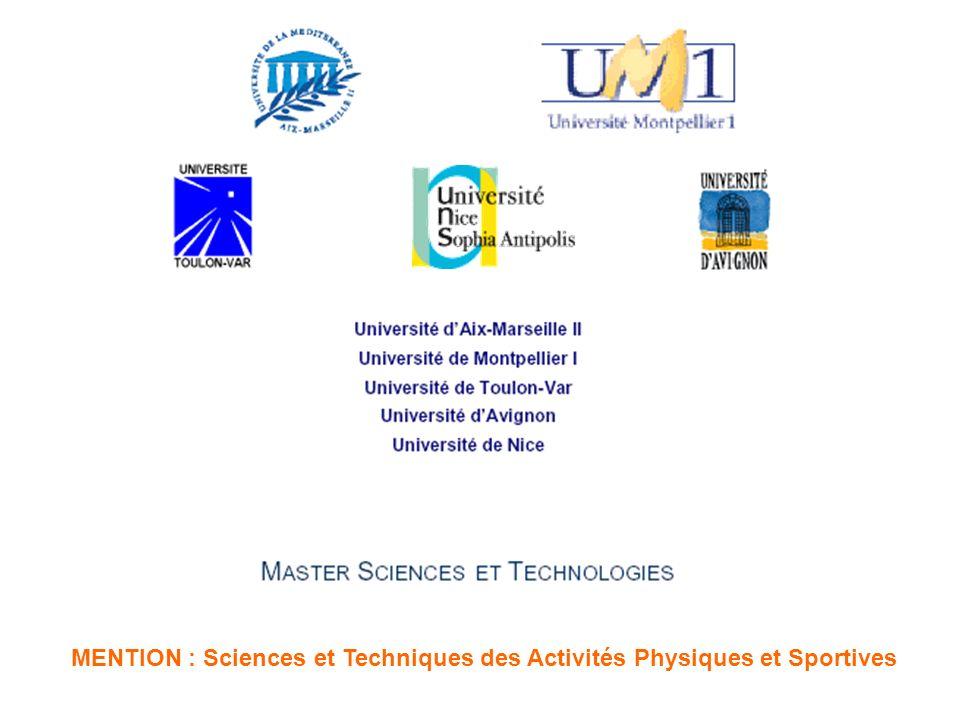 MENTION : Sciences et Techniques des Activités Physiques et Sportives